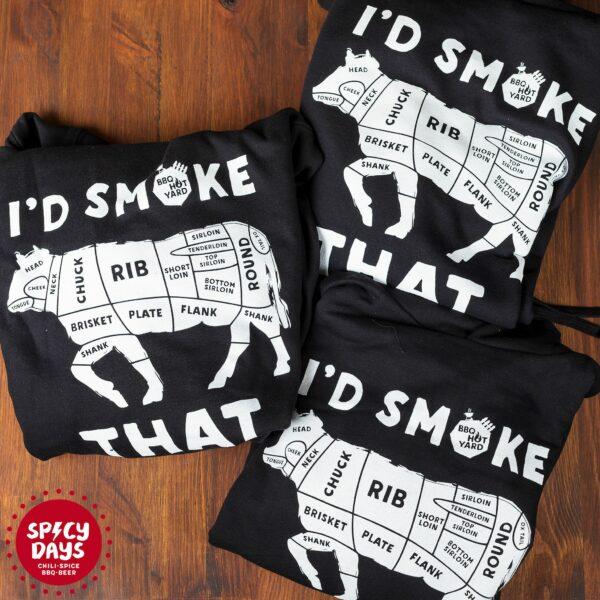 I'd Smoke That majica s kapuljačom BBQ Hot Yard 2