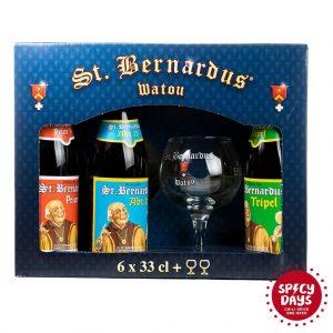 St. Bernardus poklon paket 6x0,33l + 2 čaše 6
