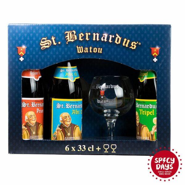 St. Bernardus poklon paket 6x0,33l + 2 čaše 1